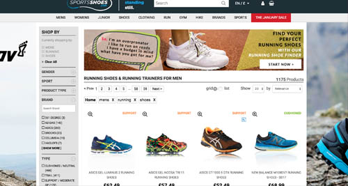 Sports shoes landing page design